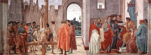 Fra Filippo Lippi - Crucifixion of St. Peter and Disputation with Simon Magus before the Emperor Nero