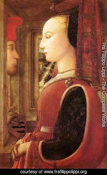 Fra Filippo Lippi - Portrait of a Woman with a Man at a Casement
