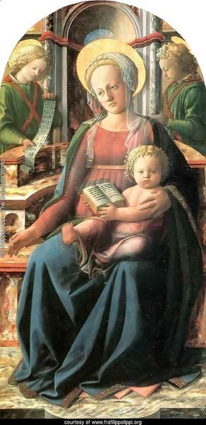 Four Doctors Triptych Madonna and Child Enthroned with two Angels