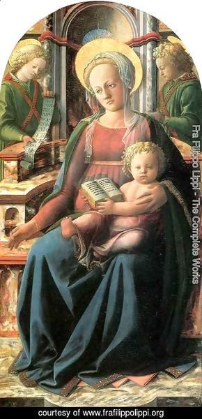 Fra Filippo Lippi - Four Doctors Triptych Madonna and Child Enthroned with two Angels
