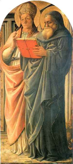 Fra Filippo Lippi - Four Doctors Triptych St Gregory and St Jerome