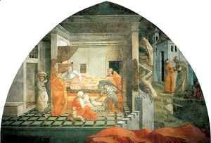 Fra Filippo Lippi - Stories from the Life of St Stephen Birth and Infancy of St Stephen