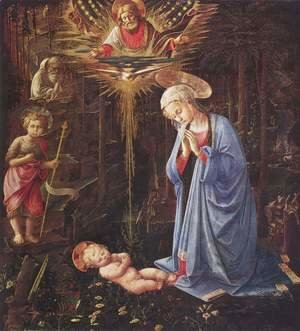 Fra Filippo Lippi - Adoration of the Child and St. Bernard