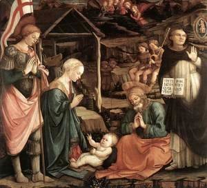 Fra Filippo Lippi - Adoration of the Child with Saints 1460-65