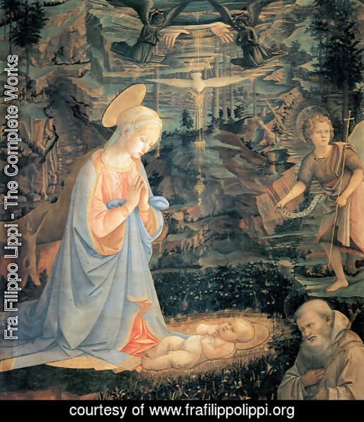 Fra Filippo Lippi - Adoration of the Child with Saints c. 1463