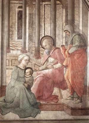 Fra Filippo Lippi - Birth and Naming St John (detail) 1452-65
