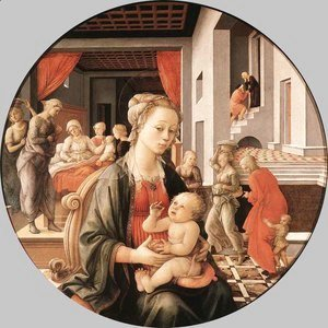 Fra Filippo Lippi - Madonna & Child with Stories from the Life of St. Anne