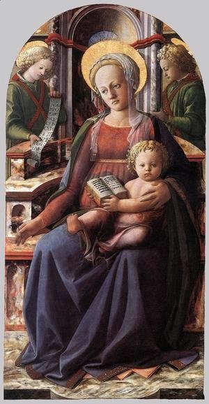 Fra Filippo Lippi - Madonna and Child Enthroned with Two Angels c. 1437