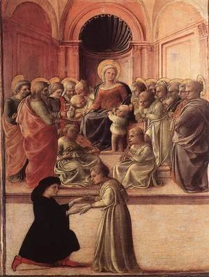 Fra Filippo Lippi - Madonna and Child with Saints and a Worshipper c. 1437