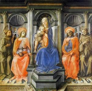 Fra Filippo Lippi - Madonna Enthroned with Saints c. 1445